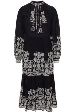 Antik Batik Women Midi Dresses - Woman Sofia Tiered Embroidered Cotton-gauze Midi Dress Size 36