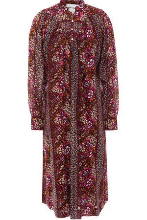 Antik Batik Woman Lady Gathered Floral-print Cotton-broadcloth Dress Burgundy Size 36