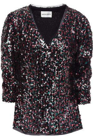 ANTIK BATIK Woman Lazer Ruched Sequined Tulle Blouse Size 36