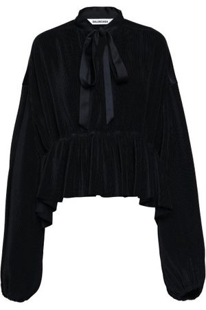 Balenciaga Peplum-hem Plissé-jersey Blouse - Womens