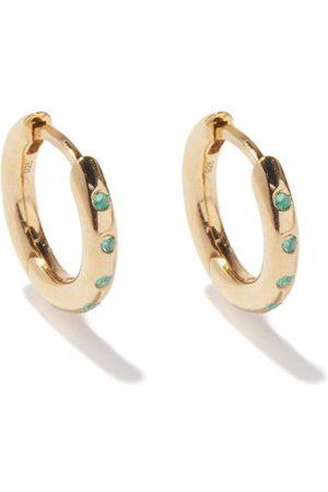 THEODORA WARRE Emerald & -plated Hoop Earrings - Womens - Multi