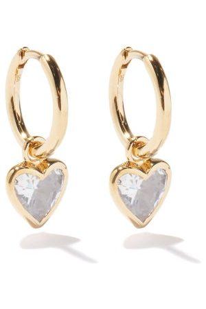 THEODORA WARRE Heart Quartz & -plated Hoop Earrings - Womens - Multi