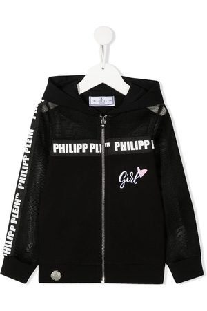 Philipp Plein Logo-tape hooded sweat jacket