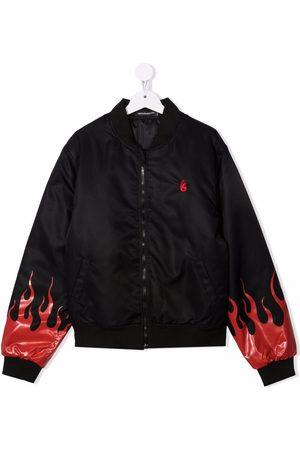 Vision Of Super Kids TEEN flame-print bomber jacket