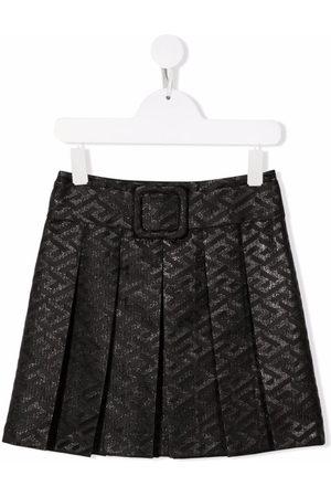 Versace Kids Metallic logo print skirt