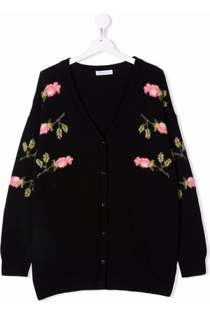 MONNALISA TEEN floral-embroidered crew neck cardigan