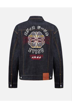 Evisu Men Denim Jackets - Kamon Checked Appliqué Denim Jacket
