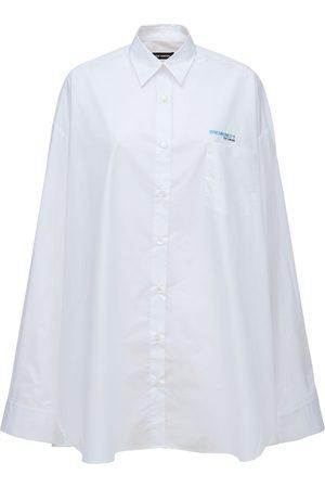 RAF SIMONS Oversize Cotton Denim Long Shirt