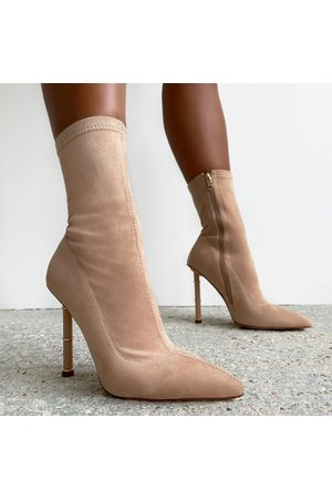 simmi.com Zayna Nude Suedette Pointed Toe Ankle Boots