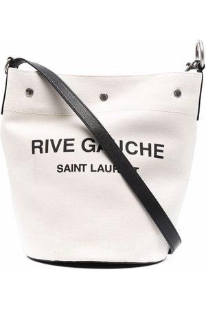 Saint Laurent Logo-print bucket shoulder bag - Neutrals
