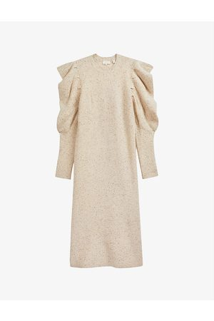 Ted Baker Marniaa gathered-sleeved knitted wool-blend midi dress