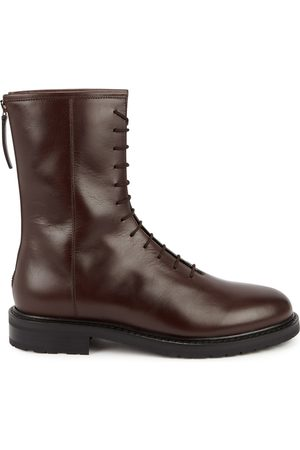 LEGRES Combat Dark Brown Leather Ankle Boots
