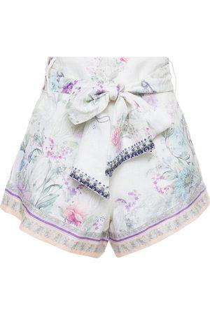 CAMILLA Woman Belted Crystal-embellished Floral-print Linen-gauze Shorts Off- Size L