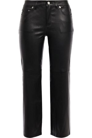 MICHAEL MICHAEL KORS Woman Cropped Stretch-leather Flared Pants Size 0