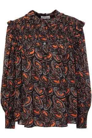 ANTIK BATIK Women Blouses - Woman Otto Ruffle-trimmed Shirred Printed Crepe Blouse Size 36