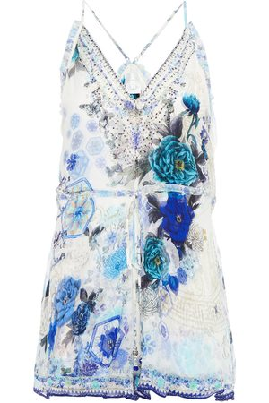 CAMILLA Women Jumpsuits - Woman Crystal-embellished Printed Silk-crepon Playsuit Size L