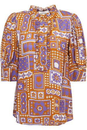 ANTIK BATIK Women Blouses - Woman Honoka Ruffled Printed Twill Blouse Tan Size L