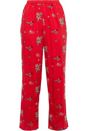 ANTIK BATIK Woman Houla Embroidered Voile Straight-leg Pants Tomato Size L