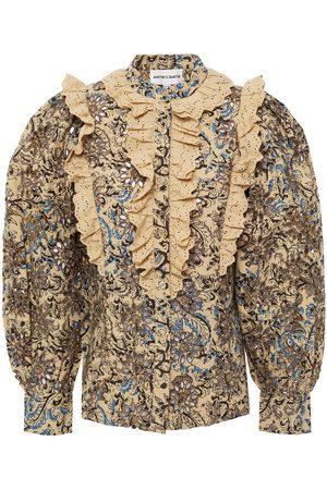 ANTIK BATIK Women Blouses - Woman Mary Ruffled Printed Broderie Anglaise Cotton Blouse Size 36