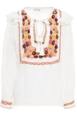 ANTIK BATIK Women Blouses - Woman Valentine Crochet-trimmed Cotton-gauze Blouse Size L
