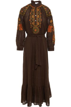 ANTIK BATIK Woman Cami Belted Embroidered Cotton-gauze Midi Dress Chocolate Size 36