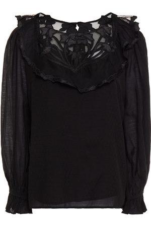 Antik Batik Women Blouses - Woman Celine Appliquéd Tulle-paneled Ruffled Cotton-blend Gauze Blouse Size 36