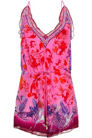 CAMILLA Woman Lace-trimmed Crystal-embellished Printed Silk Crepe De Chine Playsuit Bright Size L
