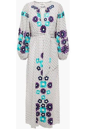 Antik Batik Woman Apoline Embroidered Printed Cotton-gauze Midi Dress Lavender Size L