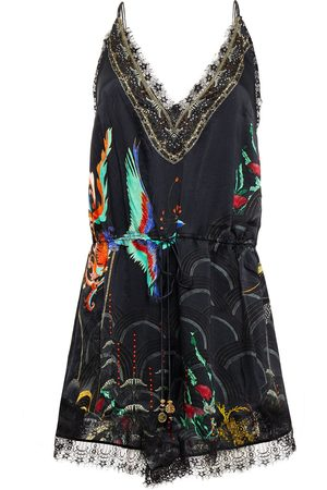 CAMILLA Woman Lace-trimmed Crystal-embellished Printed Silk-satin Playsuit Size L