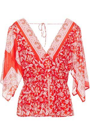 ANTIK BATIK Women Tops - Woman Iloni Tie-back Printed Cotton And Silk-blend Voile Peplum Top Tomato Size M