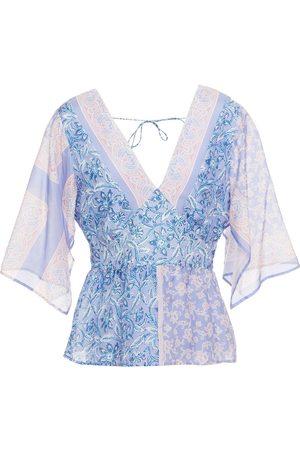 Antik Batik Woman Iloni Tie-back Printed Cotton And Silk-blend Voile Peplum Top Lilac Size L