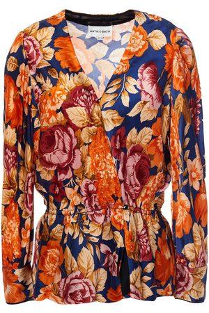 ANTIK BATIK Woman Camille Floral-print Crepe De Chine Peplum Wrap Blouse Navy Size 36