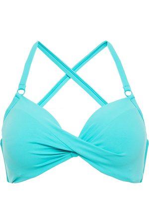 Seafolly Woman Twisted Bikini Top Turquoise Size 10