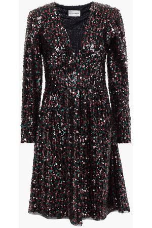 Antik Batik Woman Lazer Lace-up Sequined Tulle Mini Dress Size 36