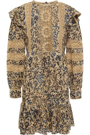 Antik Batik Woman Mary Crocheted Lace-trimmed Printed Cotton-gauze Mini Dress Size 36