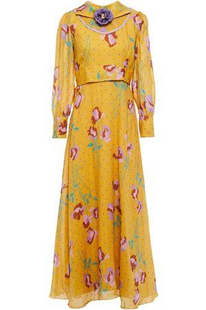 Antik Batik Woman Ossie Embellished Printed Ramie-gauze Maxi Dress Mustard Size L
