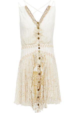 CAMILLA Woman Crystal-embellished Printed Silk-crepon And Crepe De Chine Mini Dress Ivory Size L