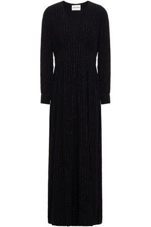 ANTIK BATIK Woman Soline Gathered Metallic Crepe Maxi Dress Size 36