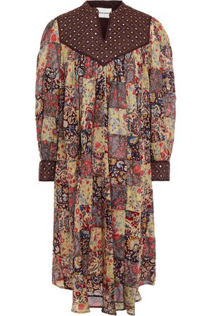 ANTIK BATIK Women Printed Dresses - Woman Patsie Embellished Patchwork Printed Cotton-voile Dress Chocolate Size 36