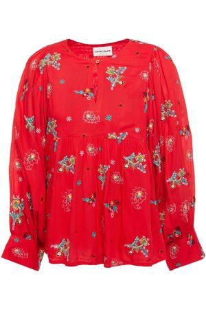 Antik Batik Woman Houla Embroidered Voile Blouse Tomato Size L