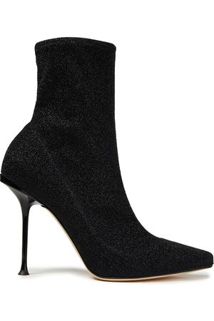 SERGIO ROSSI Women Heeled Boots - Woman Metallic Knitted Sock Boots Size 35