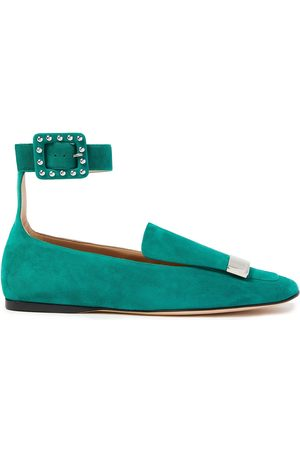 Sergio Rossi Women Loafers - Woman Sr1 Studded Suede Loafers Jade Size 34