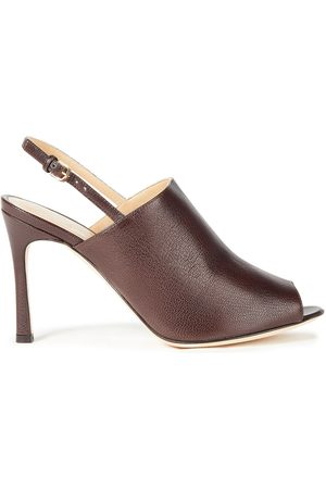 Sergio Rossi Women Sandals - Woman Textured-leather Slingback Sandals Chocolate Size 34.5