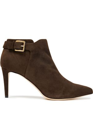 SERGIO ROSSI Women Ankle Boots - Woman Buckled Suede Ankle Boots Chocolate Size 34