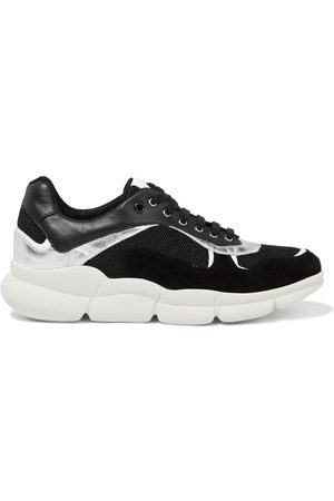SERGIO ROSSI Women Trainers - Woman Metallic-trimmed Leather Mesh And Suede Sneakers Size 35