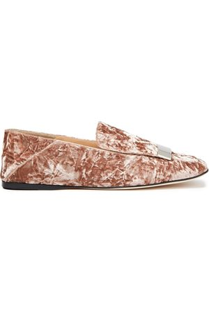 Sergio Rossi Women Loafers - Woman Crushed-velvet Collapsible-heel Loafers Blush Size 37.5