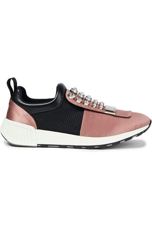 SERGIO ROSSI Women Trainers - Woman Embellished Satin And Mesh Sneakers Size 35