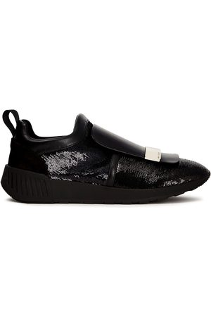 Sergio Rossi Women Trainers - Woman Sequined Scuba Leather And Suede Slip-on Sneakers Size 34