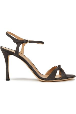 SERGIO ROSSI Women Sandals - Woman Bow-embellished Suede Sandals Gray Size 34