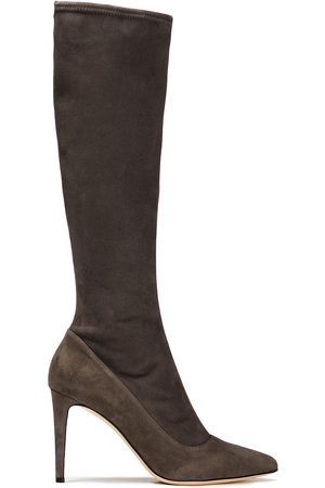 SERGIO ROSSI Women High Leg Boots - Woman Suede Knee Boots Gray Size 34